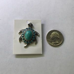 Simulated Turquoise Shell Turtle Magnetic Brooch